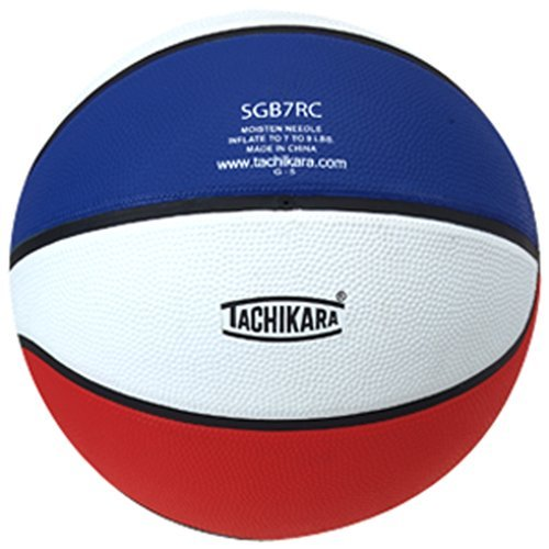Tachikara Dual Colored Rubber Basketball (29.5) - Assorted Colors - SCARLET/WHITE/ROYAL One - Assorted Rubber Colored