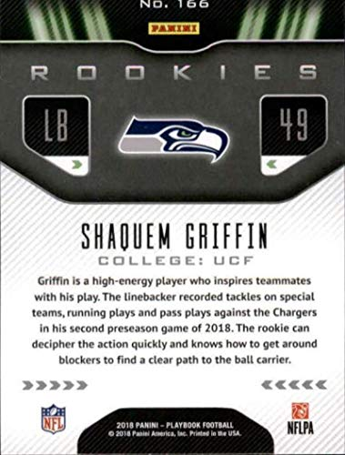 Amazon.com  2018 Panini Playbook Orange  166 Shaquem Griffin Rookie Seattle  Seahawks RC NFL Football Trading Card  Collectibles   Fine Art 0d344fdfe