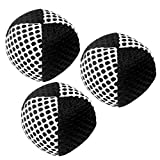 Xballs Juggling Balls Professional Set of 3 120g - 14 Beautiful Colors Available - Juggle Balls for Kids Beginners, Adults - 2 Layers of Net 4 Panels Carry Case (Black - White)