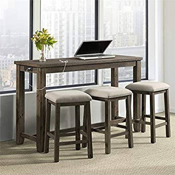 Picket House Furnishings Stanford Multipurpose Bar Table Set Gray Finish