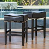 Chantal Backless Black Leather Counter Stools w/ Chrome Nailheads (Set of 2)