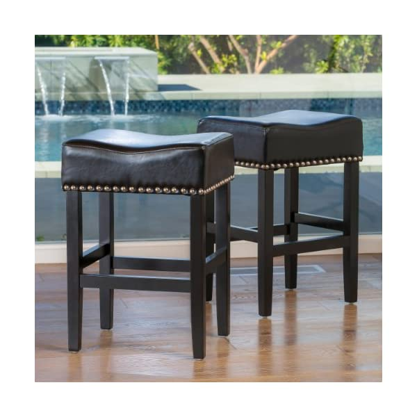 Great Deal Furniture Chantal Backless Black Counter Height Stools with Chrome Nailhead Studs, Set of 2