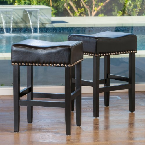 Chantal Backless Black Leather Counter Stools w/ Chrome Nailheads (Set of 2) by Great Deal Furniture