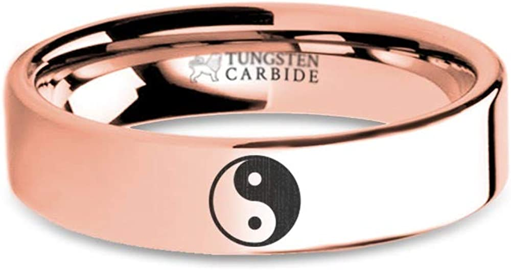 6 mm Yin Yang Symbol Engraved Rose Gold Plated Tungsten Wedding Ring