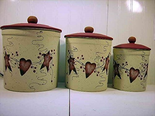 Primitive Country Decor Rusty Tin Stars Hearts Stoneware Canister Set of 3