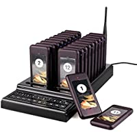 TIVDIO T-111 Wireless Calling System Paging System Portable Rechargeable Guest Waiting Pager Calling System with 20pcs Coaster Pager and 1pc Call Button Keypad for Restaurant Clinic Church Cafe Shop