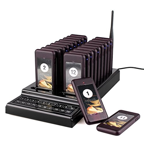 TIVDIO T-111 Wireless Calling System Restaurant System Paging System Pager System Calling System with 20pcs Coaster Pager and 1pc Call Button Keypad for Restaurant Clinic Church Cafe Shop by TIVDIO
