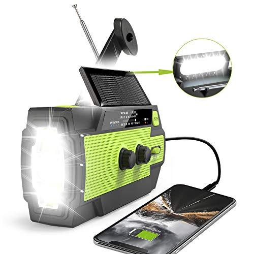 🥇 2020 Newest Emergency Crank Radio,4000mAh-Solar Hand Crank Portable AM/FM/NOAA Weather Radio with 1W Flashlight & Motion Sensor Reading Lamp,Cell Phone Charger