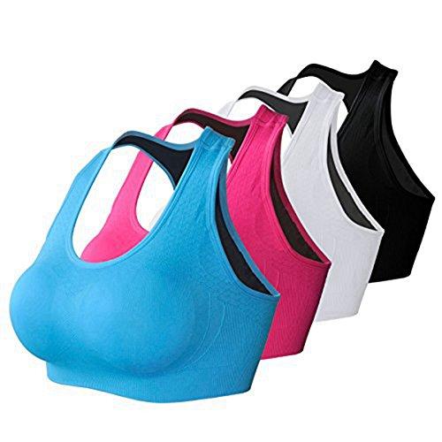 BRABIC Women's Sport Bras Top Pads Seamless Comfor Bralettes Push Up Pack of 4 (2XL, BlackWhiteRoseBlue)