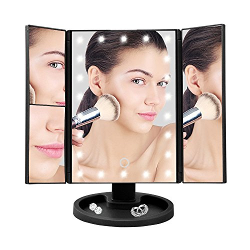 Powstro Lighted Cosmetic Mirror With Circular Bottom,Makeup Vanity Mirror With 22 PCS LED Lights Makeup Mirror Lighted Touch Screen Magnifying 1 X 2X 3 X 180 Rotating 3 Folding Mirror Panel Folding Bath Screen