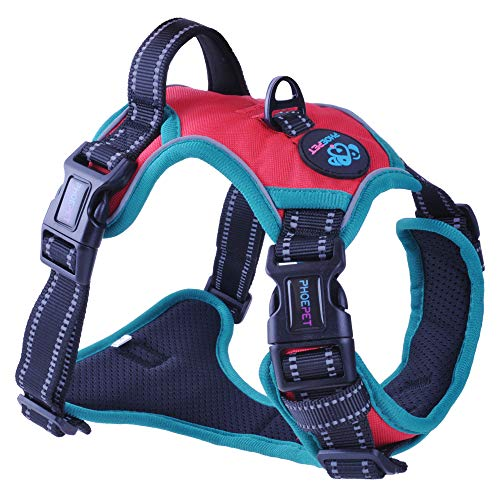 PHOEPET 2019 Upgraded No Pull Dog Harness,3M Reflective Adjustable Vest, with a Training Handle + 2 Metal Leash Hooks+ 3 Snap Buckles +4 Slide Buckles(S, Red)