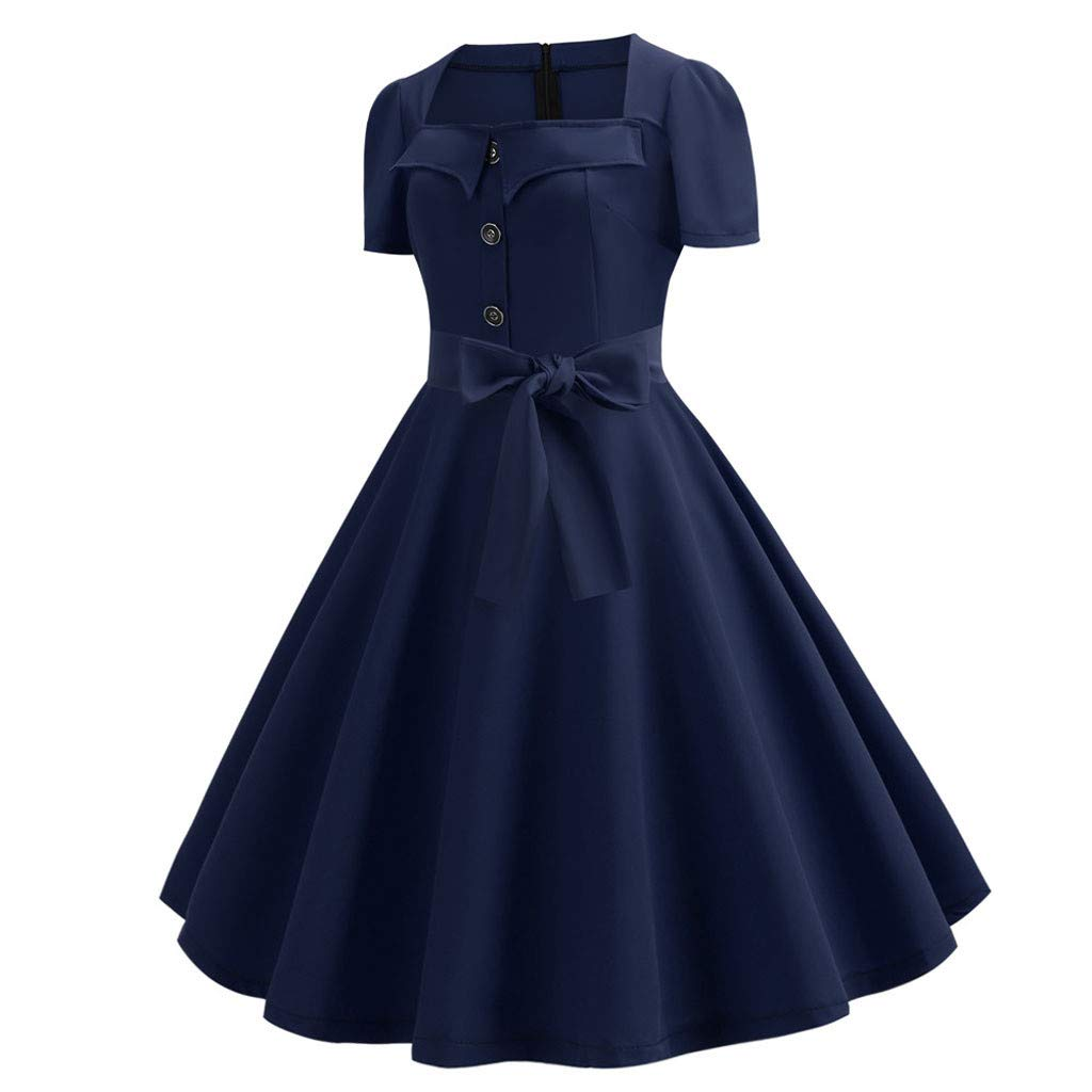 Maxi Dresses for Women Miuye Vintage Short Sleeve Plain Formal Dresses Casual Evening Party Prom Swing Dress Navy by Miuye-Dress