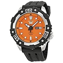 Seiko Series 5 Automatic Orange Dial Black Rubber Mend Watch SRP473