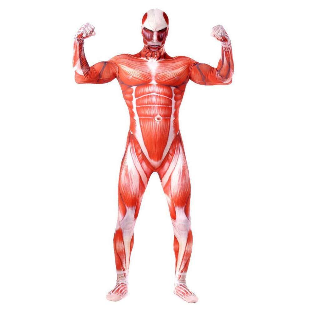 rouge Medium XINFUKL Attaque sur Les Géants Une Seule Pièce Corps Rasage Musculaire HalFaibleeen 3D Impression DéguiseHommest Soirée Thème Soirée Accessoires De Film,rouge-XL