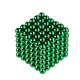 Beautychen Magnetic Cube 216pcs 5mm Magnets Blocks Magnetic Square Cube Children's Puzzle Magic Cubes DIY Educational Toys for Kids Intelligence Development and Stress Relief (Green)