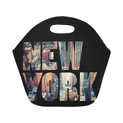 InterestPrint New York City Word Reusable Insulated Neoprene Lunch Tote Bag Cooler 11.93