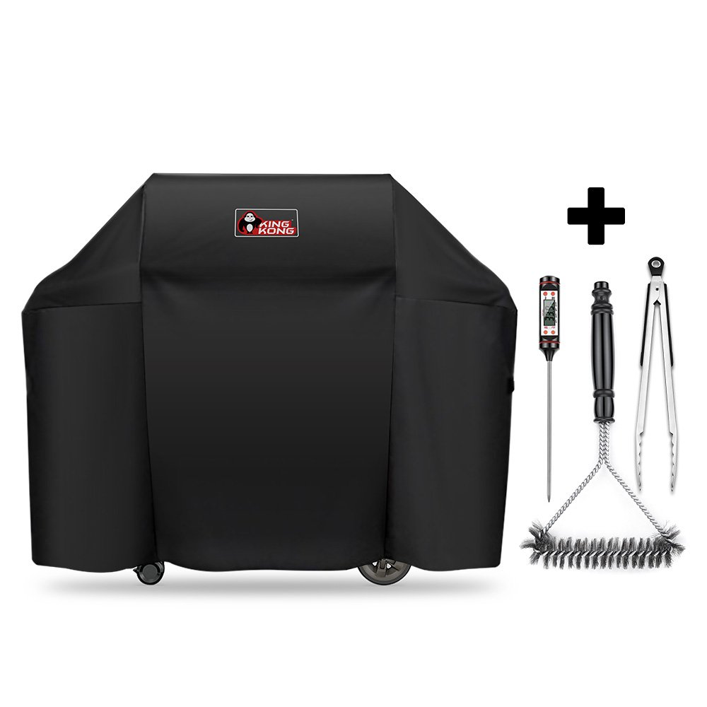 Kingkong 7130 Grill Cover for Weber Genesis II 3 Burner Grill and Genesis 300 Series Grills (Compared to 7130) including Brush, Tongs and Thermometer by King Kong