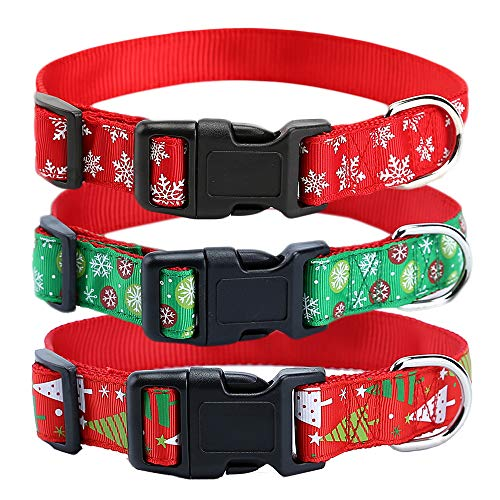 Christmas Nylon Dog Collar – Christmas Tree Snow Snowflake Pattern Dog Collar - Adjustable for Small Medium Large Dogs – Christmas Theme Winter Theme - Green Collar with Snow,M(Neck fit12.2-18.9