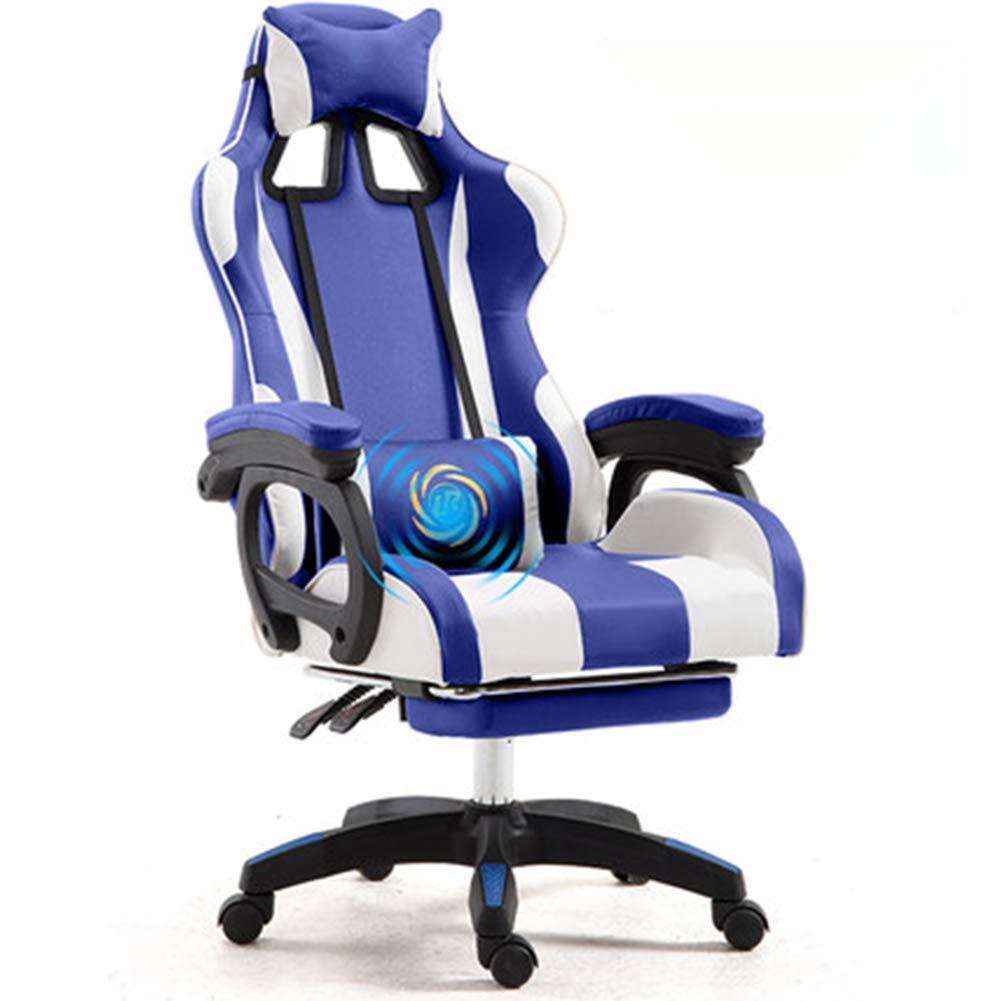E-スポーツチェア、スポーツカーシェイプ、インターロッキングアームレストデザイン、快適なカーボンファイバーレザー素材、快適なラテックスシートクッション、360°回転可能、ホームオフィス B07RV95S6H blue white
