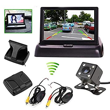 Car Vehicle Small Mini Color Digital Flip Down Folding Foldable Rear View Reverse Easy Install Parking Kits Combo Set HD TFT-LCD LED 4.3 Inch Small Mini Monitor Backup Camera by HitCar AC-430ZD+LED662