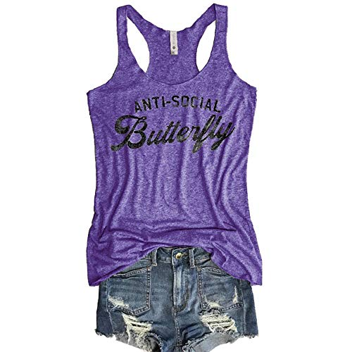 - Pukemark Women's Summer Casual Sleeveless Letter Print Racerback Workout Tank Top Tees Shirts Purple