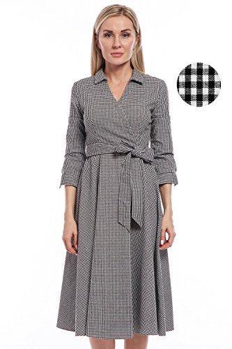 Avoir Aime Women#039s Retro Checkered Cotton Collared ALine Wrap Style Swing Dress with Belt  Black amp White L
