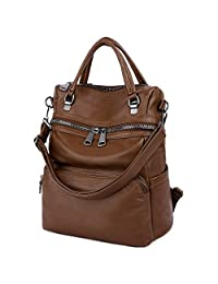 LARGE Version-UTO Women Backpack Purse PU Washed Leather Ladies Rucksack Shoulder Bag