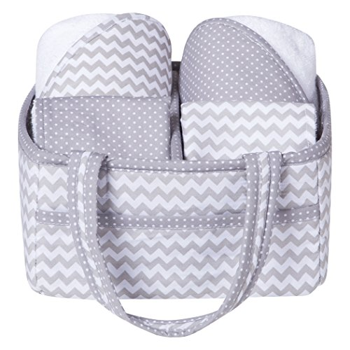 Gray Chevron 5 Piece Baby Bath Gift Set