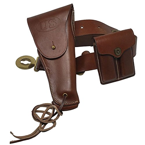 U.S. WWI & WWII M1912 Colt M1911A1 1911 .45 Auto Caliber WWII Reproduction US Embossed Tan Leather Pistol Handgun Hip Waist Officer Belt Holster with Leg Tie Down Strap Dual Double Ammo Pouch