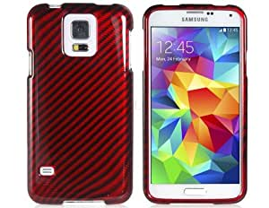 ISSEC 2-in-1 Carbon Fiber Coating Striped Protective Case for Samsung Galaxy S5 i9600 (Red)