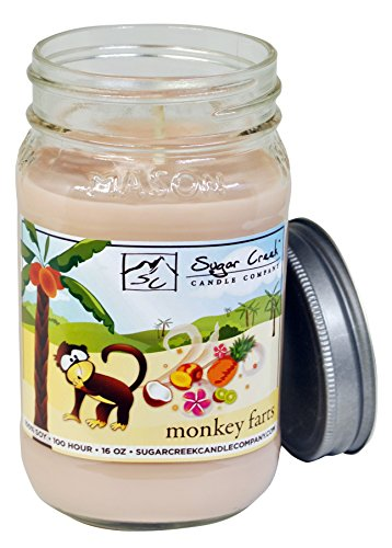  Monkey Farts (Tropical Fruit Medley)   100% Natural Soy Wax, Non-Toxic   Made in USA   100-Hours Burn Time (16 oz. Mason Jar) ()
