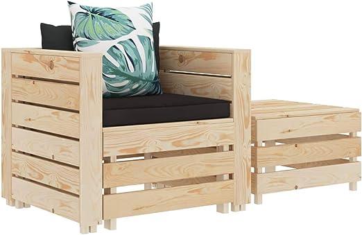 vidaXL - Muebles de madera para jardín (2 piezas) Con cojín de flores, muebles de jardín, sillón, taburete, mesa auxiliar.: Amazon.es: Hogar