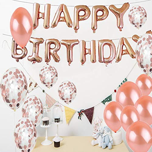 LQQDD 19th Birthday Decorations Party Supplies19th Balloons Rose GoldNumber 19 Mylar