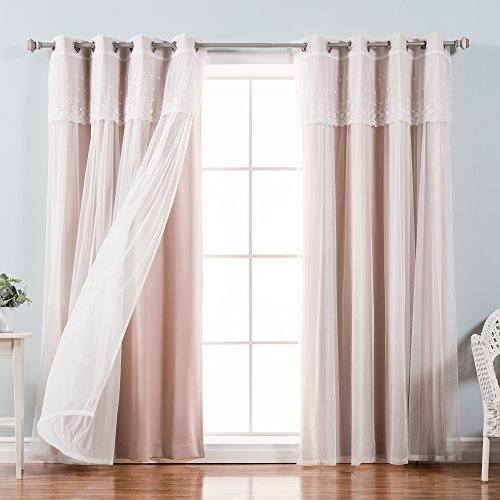 Best Home Fashion MM_DIMANCHE_GS-84-DUSTYPINK Valance & Solid Blackout Curtain Set, Dusty Pink, 52