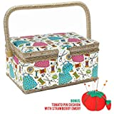 SewKit | Large Sewing Basket Organizer with Complete Sewing Kit Accessories Included | Wooden Sewing Basket Kit with Removable Tray and Tomato Pincushion for Sewing Mending | Blue | 220.19