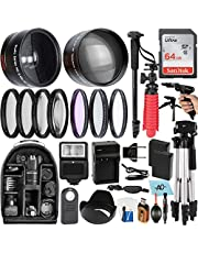 $119 » A-Cell 58mm Accessory Bundle for Canon EOS Rebel T7, T6, T5, T3, T100, 4000D, 2000D, 3000D and More with 64GB SanDisk Memory Card, Wide Angle Lens, Telephoto Lens, Tripod, Backpack