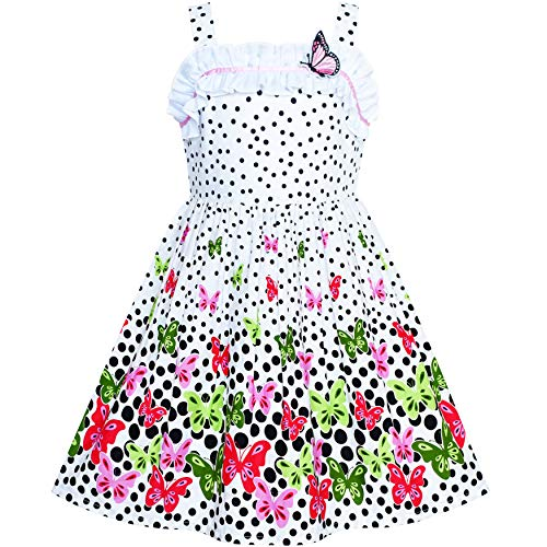 (Girls Dress Flower Polka Dot Tank Sundress Size 5 White/Pink)