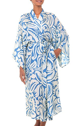 NOVICA Blue Women's 100% Silk Robe, Blue Hibiscus Haven' (One Size Fits Most) - Novica Silk Robe