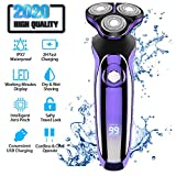 Electric Razor, Electric Shavers for Men, Dry Wet Waterproof Mens rotary facial shaver, Portable Face Shaver Cordless Travel USB Rechargeable with Pop-up Trimmer LED Display for Shaving Husband Dad