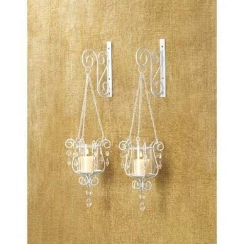 2 White Chic Shabby Hurricane Crystal Hanging Outdoor Candle Holder Wall Sconce 14113