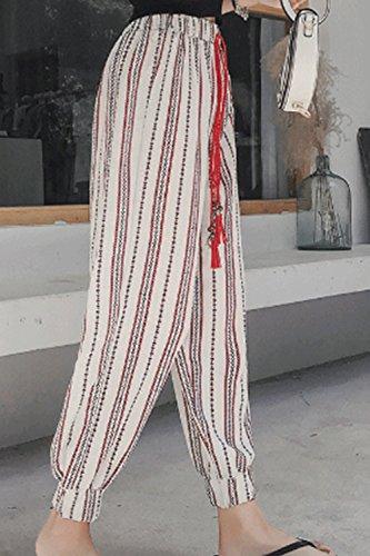 Haute Taille Les Cheville Été White Vintage Pantalons Pantalon Rayures Yulinge De I1dwaCx