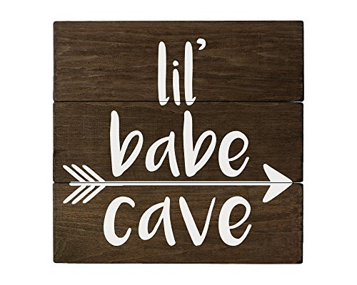 (Elegant Signs Rustic Nursery Wall Decor for Girls - Lil Babe Cave)