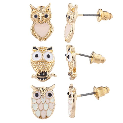 Jewelry Display Belly (Lux Accessories Gold Tone Three Triple Pastel Owl Stud Post Earring Set (3prs))