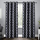 Exclusive Home Curtains Gates Sateen Blackout Thermal Window Curtain Panel Pair with Grommet Top, 52x96, Peacoat Blue, 2 Piece