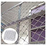 Safety Netting Fence Climbing Woven Rope Cargo Trailer Net Decoration Net, Kids Toddler Pet Balcony Stair Anti-Fall Net for Cats Birds Protective Mesh - White (Color : 5cm, Size : 16m(320ft))