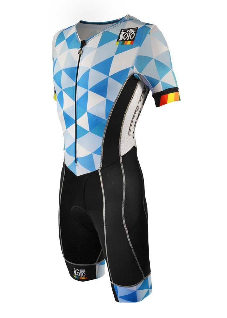 De Soto Forza Sleeved Triathlon Flisuit - 2018 - FFTS (Size Small, Blue Hive)