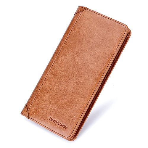 Italian Leather Checkbook Wallet - Women's Leather Wallet Italian Long Slim Rfid Blocking Card Holder Purse For Ladies (Tan)