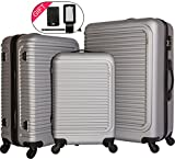 cheergo Luggage 3 Piece Set Suitcase ABS Material PC Hardside 20 24 28 Spinner Silver