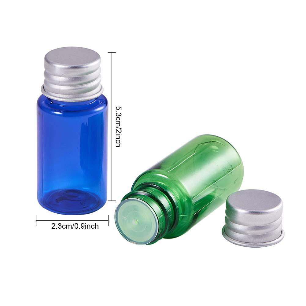 BENECREAT 24 Pack 10ml Botella Portátil de Viaje Botella Vacía de Plástica Envase Especial para Loción Emulsión con Doble Tapas de Aluminio y Plástico 6 ...