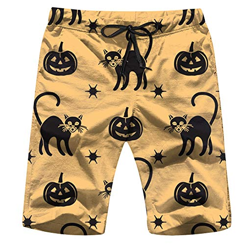 Halloween 2019 Pumpkins Holidays Mens Beach Pants 3D Printed Casual Fashion Adjustable Beach Board Shorts XXL for $<!--$19.88-->